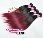 3 Bundles/150g Ombre Black+Red Indian Human Straight Hair Extensions Remy Silky