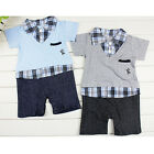 Baby Boy Climbing Clothes Leave Two Lapel Shape Romper Cotton Outfits