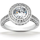 1 5/8ct Diamond Vintage Engagement Ring Solid14K White Gold