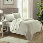 Evie Plush Microsuede Sherpa Lined Beige 3 Piece Blanket & Shams Set