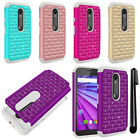 For Motorola Moto G 2015 3rd Gen XT1541 Luxury HYBRID Bling Case Cover + Pen