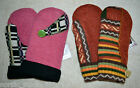 HANDMADE 100% WOOL recycled sweater MITTENS, Fleece Lined,  Fair Isle