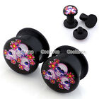 "Pair 6g-9/16"" Punk Skull Flower Acrylic Ear Tunnel Plugs Stretcher Expander"