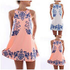 Women's Summer Beach Boho Floral Print Sundress Sleeveless Short Mini Dress