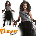 Girls Goth Prom Queen Zombie Halloween Fancy Dress Childs Kids Costume Outfit