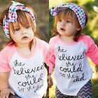 Toddler Kids Baby Girls Summer Casual Long Sleeve T-shirt Tops Clothes 1-6T