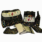 Baby Boy Girl Unisex 9 pcs Polka Dot Diaper Bag Set - LG SM Bags + 2 Key Rattles