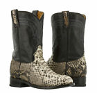 Mens Real Python Snake Skin Genuine Leather Cowboy Boots Western Round Roper