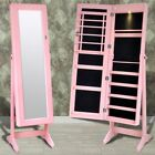 White/Pink/Black/Brown Free Standing Make-up Jewelery Cabinet Mirror Full Length