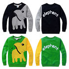 Elephant Baby Kid Boys Clothes Long Sleeve Tops T-shirt Pullover Sweatshirt Coat