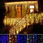 96LED Hanging Icicle Snowing Curtain Lights Outdoor Fairy Xmas String Wedding SH