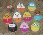 10/25 WHITE WOOD NOVELTY EGG SHAPED ANIMAL BUTTONS # EASTER CRAFT/CARDMAKING