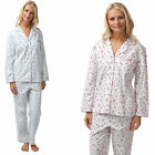 Ladies Flannel Traditional Brushed Cotton Pyjamas Set Floral Pjs Wyncie 06367