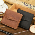 Men Genuine Leather Alligator Crocodile Pattern Trifold Wallet Zipper Purse Card