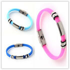 10x Multicolor Silicone Bracelets 21.5cm Smooth Connector Fit Men Women Gifts LC