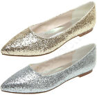 2016 Fashion Silver Golden Glitter Pointy Toe Flat Party Wedding Shoes Bridal