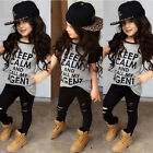 Toddler Kids Infant Girls Outfits Print Tops T-shirt Pants Leggings Clothes Sets