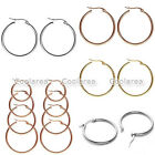 Various Size Stainless Silver 2mm Thin Polished Stud Round Hoop Earrings Jewelry
