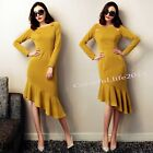 New Autumn Women's Mermaid Bodycon Dress Party Cocktail High Waist Formal Dress