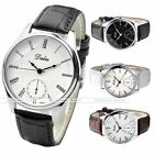 40mm Dalas Casual Roman Numerals PU Leather Wristband Quartz Analog Men's Watch