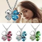 New Women Happiness Clover Leaf Crystal Pendant Chain Necklace Valentine WLSG