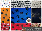 "Polar Fleece Printed Fabric PAW PRINT 60"" Wide Sold By the Yard"