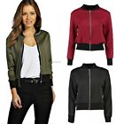 Ladies New Style Bomber Jacket Women Vintage Zip Up Biker Coat Size 8 10 12 14 B