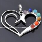 Love Heart 7 Reiki Chakra Silver Gemstone Healing Point Pendant For Necklace DIY