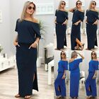 Sexy Womens Short Sleeve Loose Cocktail Ladies Summer Party Long Maxi Dress B20E