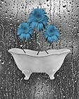 Blue Gray Daisy Flowers Bathroom Modern Wall Art Matted Picture