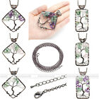 Rhombus Rectangle Double Color Tree of Life Gravel Crystal Bead Pendant Necklace