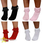 WOMENS 50'S FRILL SOCKS 1950'S BOBBIE SOCKS FANCY DRESS WHITE BLACK RED PINK