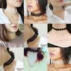 Women`s White/Black Lace Flower Chocker Collar Chunky Necklace Gothic Jewelry
