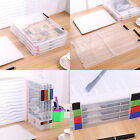 Storage Box A4 File Clear Plastic Document Cases Desk Paper Organizers Holders