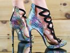 "Athena Aleesha Rainbow Abstract Leopard Print 4"" Heel Open Toe Shoe 6.5-9"