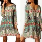 Sexy Summer Women Boho Vintage Ethnic Floral Printed Casual Loose Beach B20E