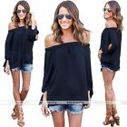 Black Women Girls Off Shoulder Shirt Casual Blouse T-Shirt Crop Tops Party Hot