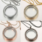 Living Memory Floating Charm Crystal Glass Round Locket Pendant Necklace Jewelry
