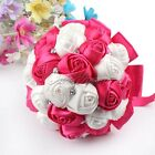 Dia 18cm Rose Posy Lace Wedding Bouquet Bridal Brooch SILK  Pearls Satin Flowers