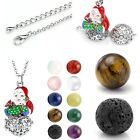 Xmas Santa Claus Gemstone Beads Openable Locket Cage Pendant Chain Necklace Gift