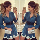 Sexy Womens Long Sleeve Bodycon Dress Ladies Lace Cocktail Evening Party Dresses