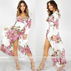 Women's Printing Low Cup Robe Chiffon Wrap Maxi Dress Bandage Party Clubwear