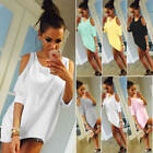 Fashion Ladies Women's Off-shoulder Loose T Shirt Tops 3/4 Sleeve Casual Blouse