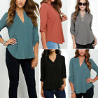 Women V Neck Long Sleeve T-shirt Chiffon Blouse Casual Loose Tops Plus Size 6-18