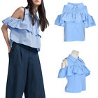 Fantasstic  Shoulder Ruffles Shirt Lapel Hollow out Short Sleeve Blouse Tops
