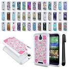 For HTC Desire 510 512 Anti Shock Studded Bling HYBRID Case Phone Cover + Pen