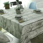 Wood Grain Dining Kitchen Table Cover Vintage Tablecloth Cotton Linen Fabric