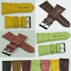 Extra wide genuine leather watch strap crocodile grain 26mm 28mm 30mm band mens