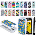 For Motorola Moto E LTE 2nd Gen 2015 Studded Bling HYBRID Case Phone Cover + Pen