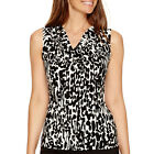 Black Label by Evan-Picone Sleeveless Printed Cowlneck Blouse Size XS MSRP $40
